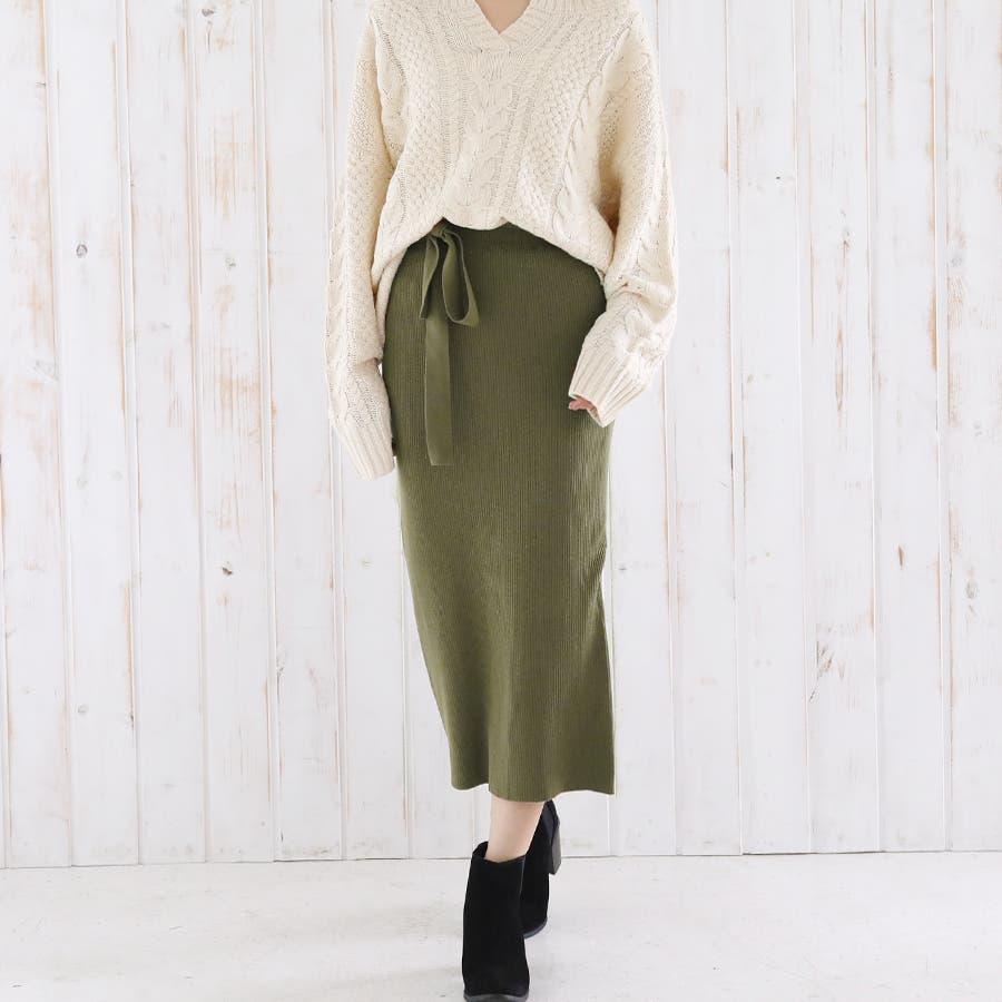 総針ベルト付きタイトスカート/春夏/セットアップ/ニットスカート 53
