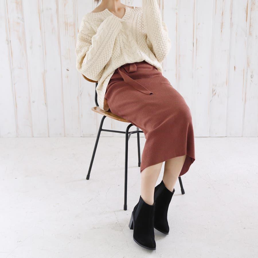 総針ベルト付きタイトスカート/春夏/セットアップ/ニットスカート 87