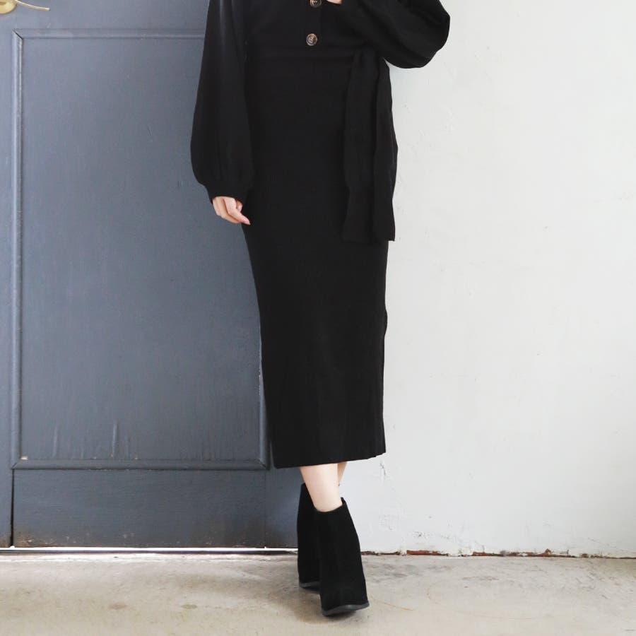 総針ベルト付きタイトスカート/春夏/セットアップ/ニットスカート 21