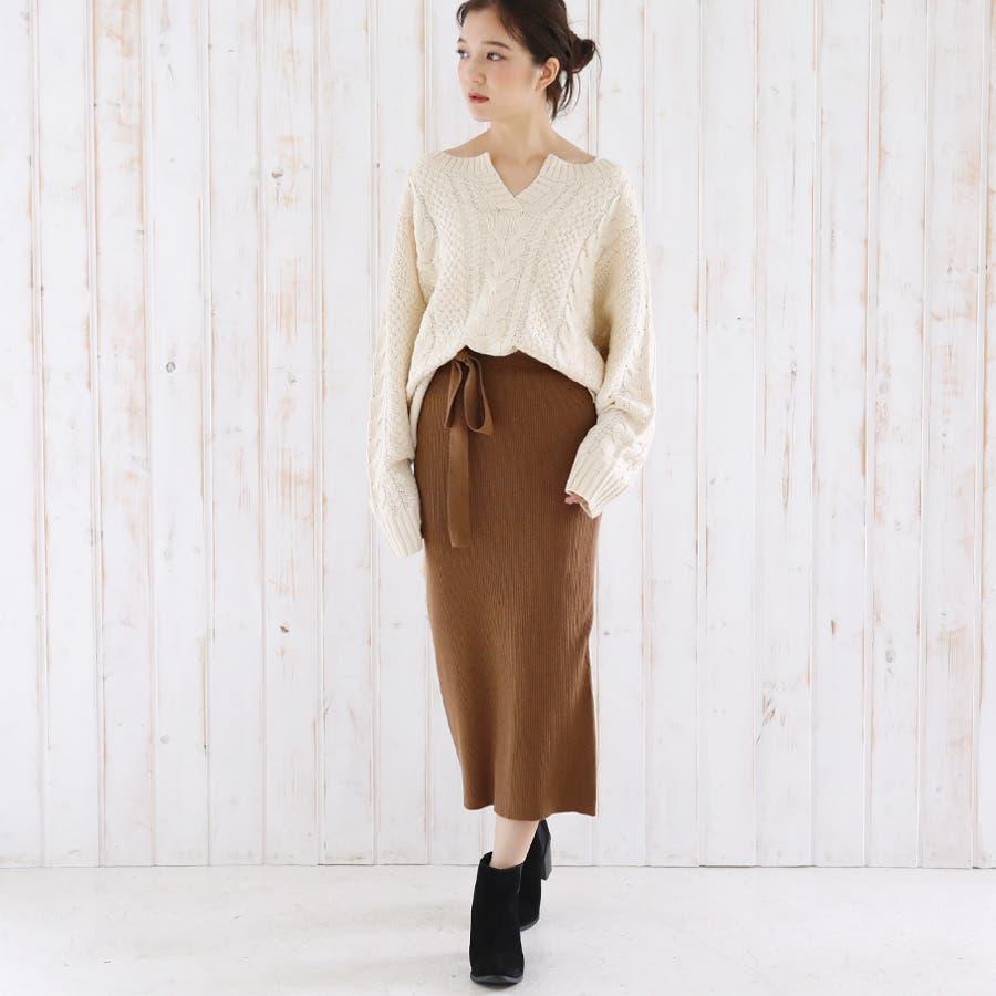 総針ベルト付きタイトスカート/春夏/セットアップ/ニットスカート 5