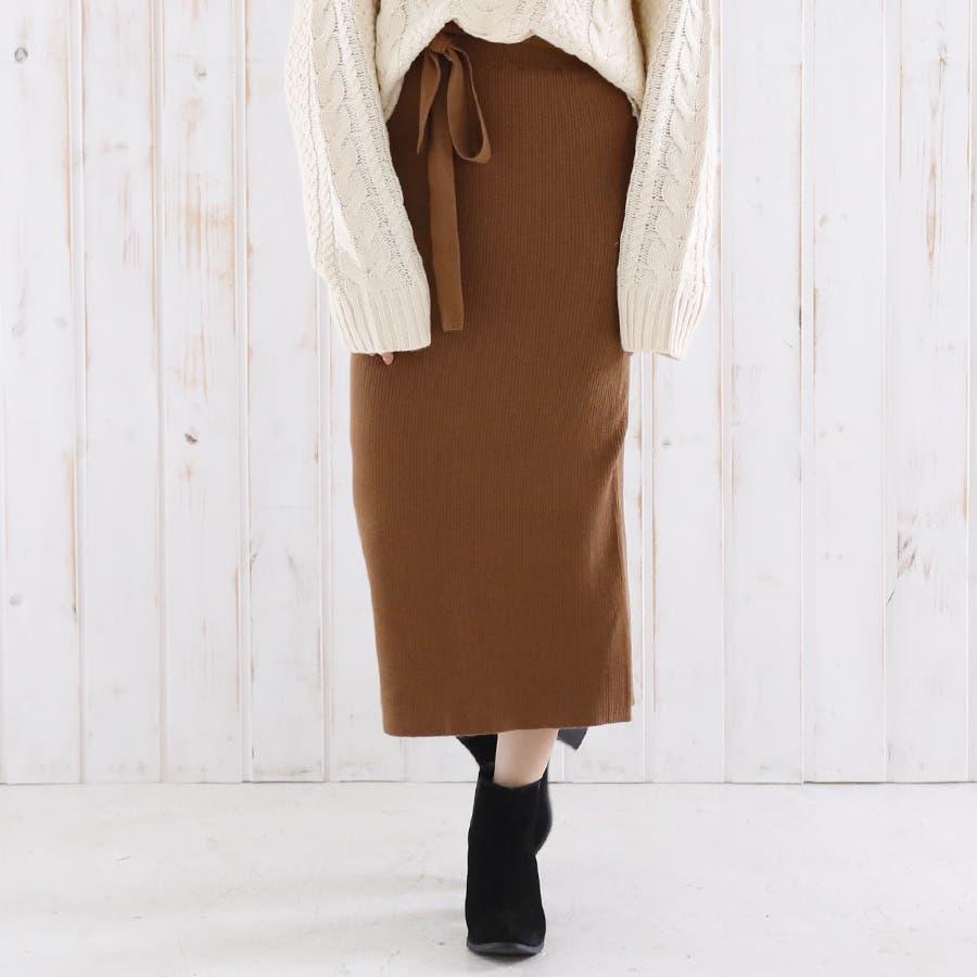 総針ベルト付きタイトスカート/春夏/セットアップ/ニットスカート 6