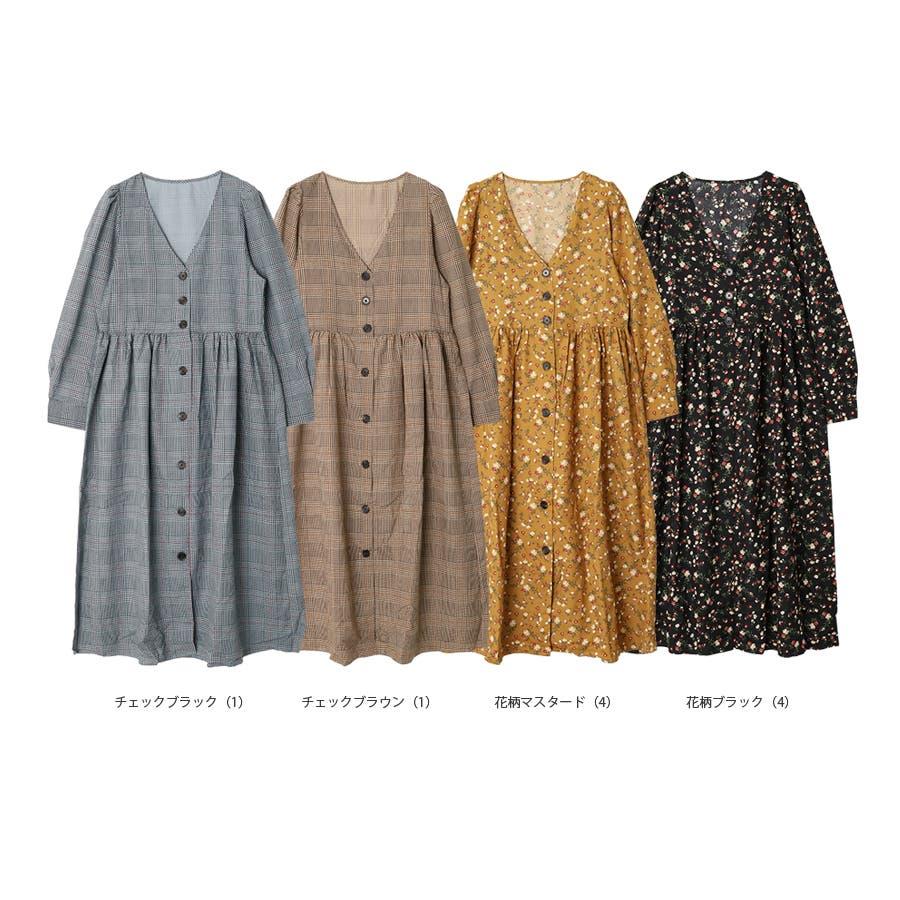 プリント柄前ボタンガウンワンピース/秋冬 10