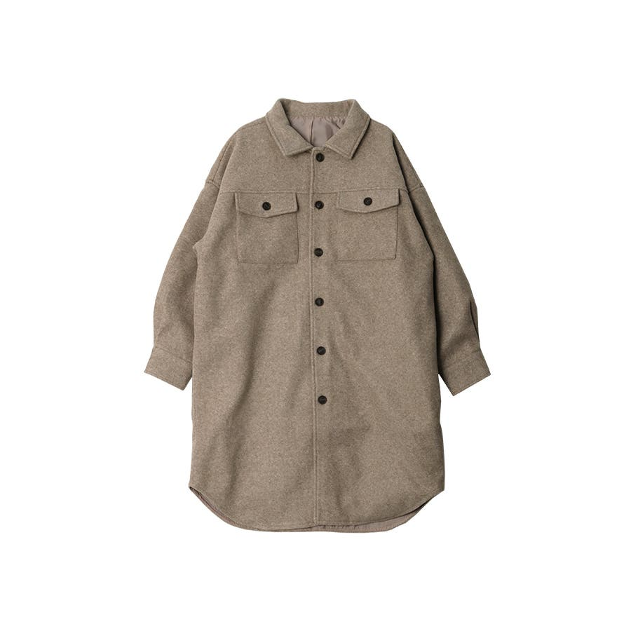 フェイクウールオーバーサイズシャツジャケット秋冬 35