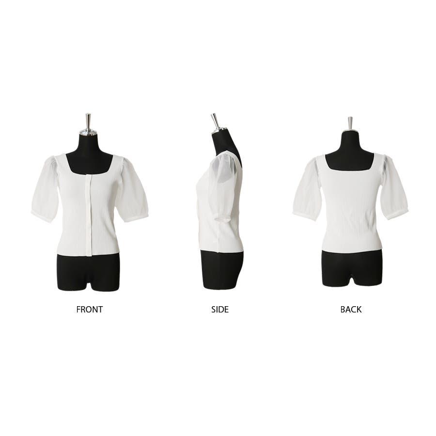 シースルースリーブ2WAYニットトップス/韓国ファッション/シアー素材 2