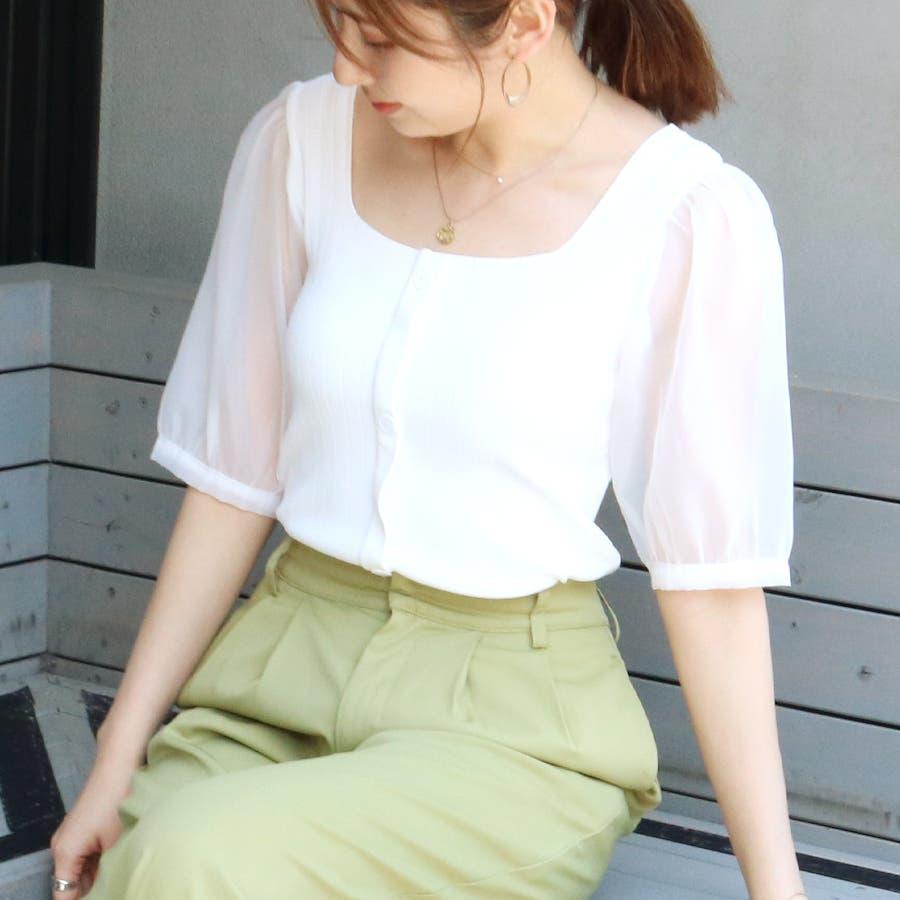 シースルースリーブ2WAYニットトップス/韓国ファッション/シアー素材 16