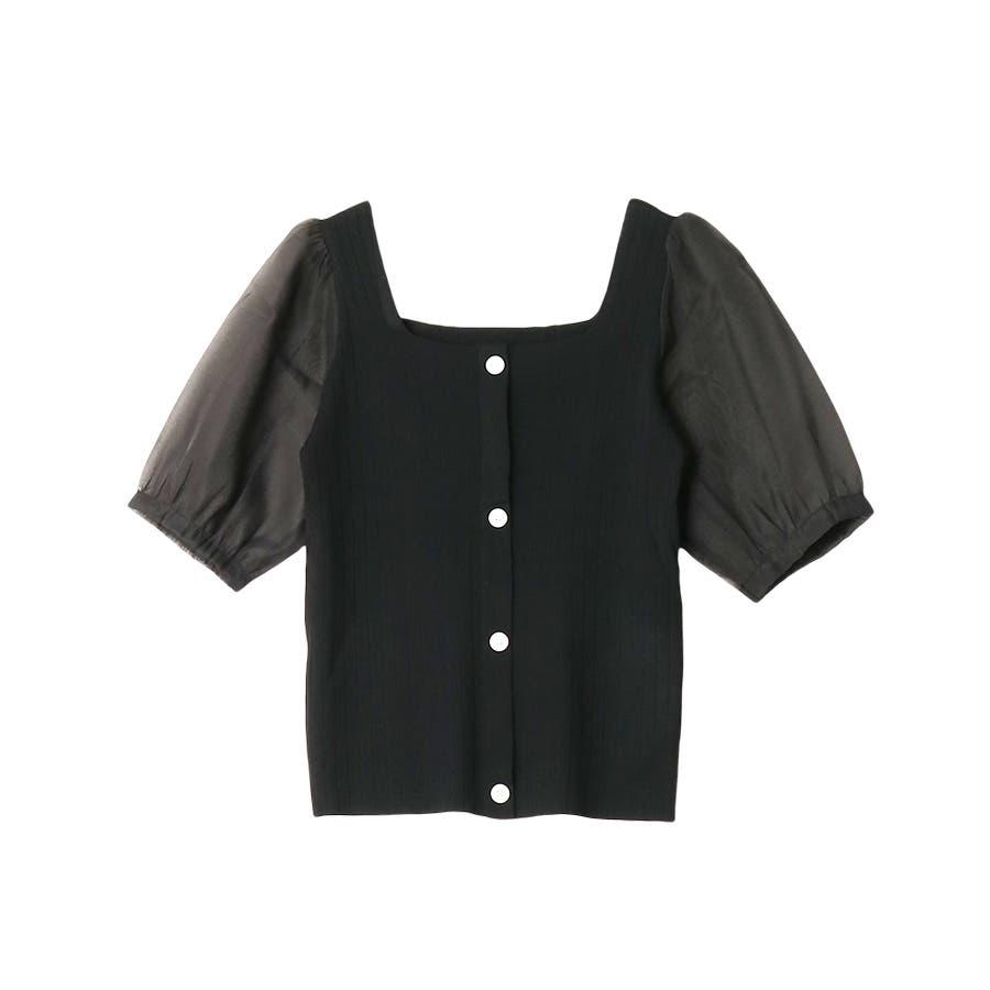 シースルースリーブ2WAYニットトップス/韓国ファッション/シアー素材 21