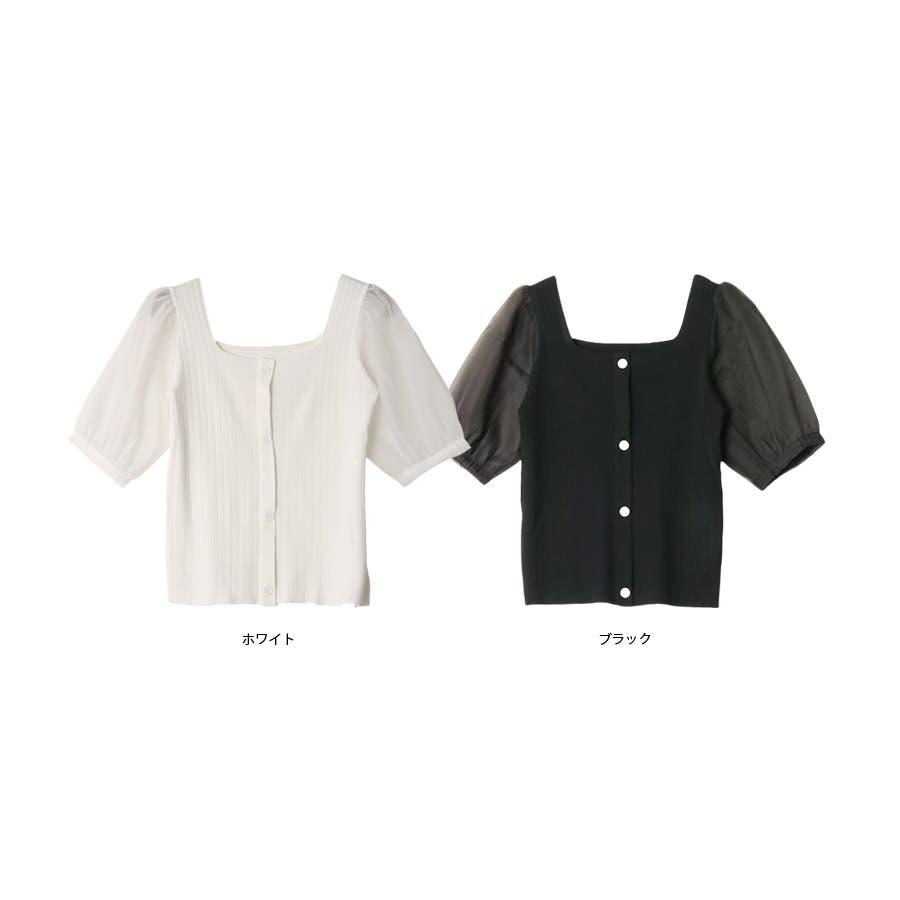 シースルースリーブ2WAYニットトップス/韓国ファッション/シアー素材 3