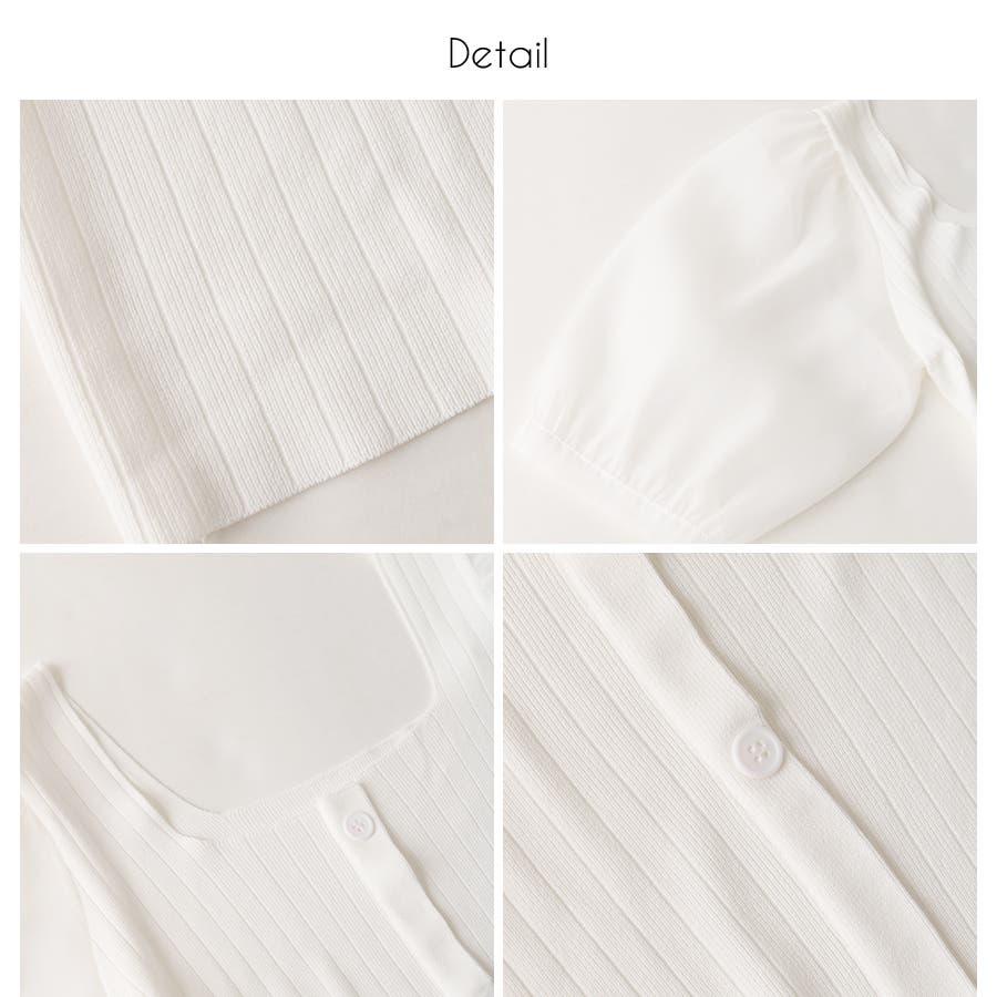 シースルースリーブ2WAYニットトップス/韓国ファッション/シアー素材 4