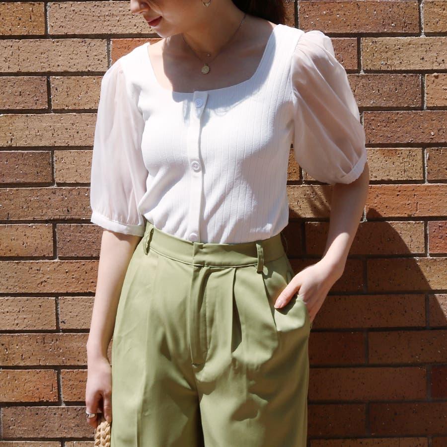シースルースリーブ2WAYニットトップス/韓国ファッション/シアー素材 5