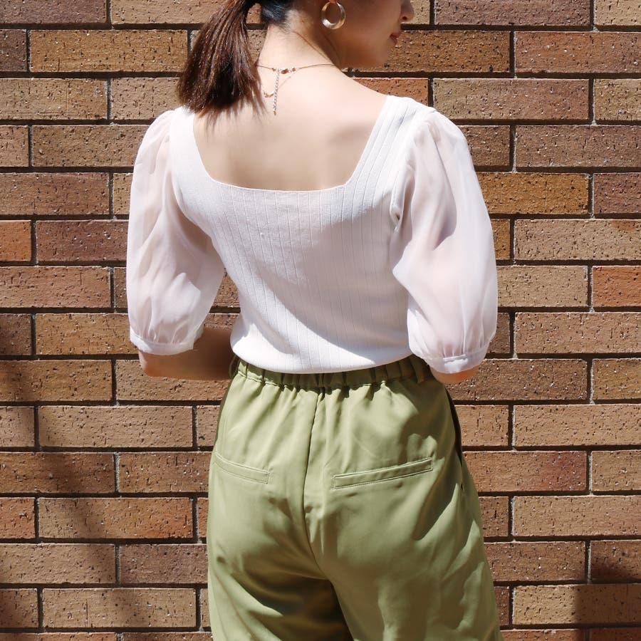 シースルースリーブ2WAYニットトップス/韓国ファッション/シアー素材 8