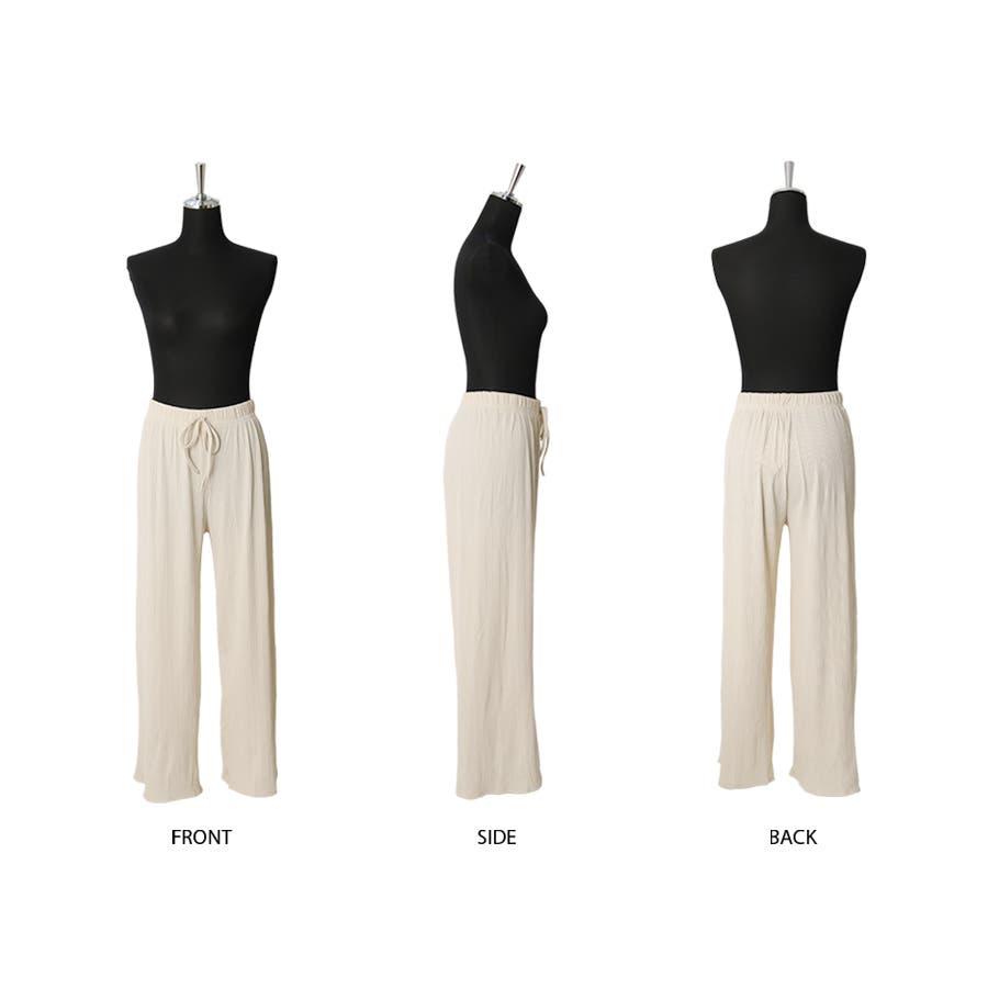 マルチリブワイドパンツ/ルームウェア/韓国ファッション 2