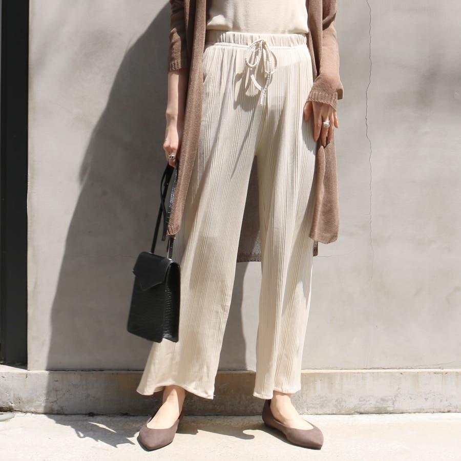 マルチリブワイドパンツ/ルームウェア/韓国ファッション 18