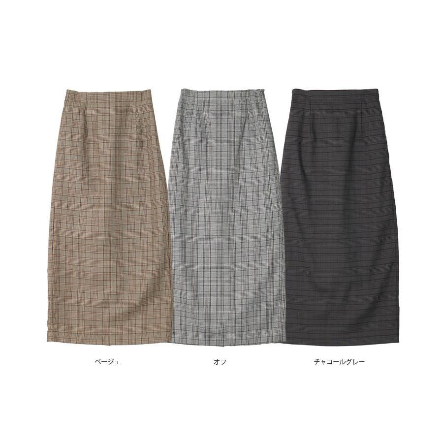 チェック柄タイトスカート/秋冬 3