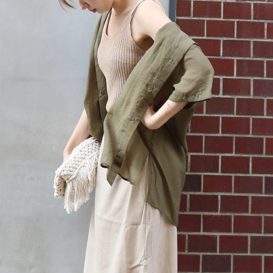 半袖シースルーオーバーサイズシャツ/トップス/シアー素材 5