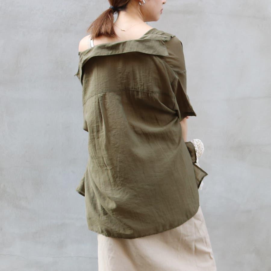 半袖シースルーオーバーサイズシャツ/トップス/シアー素材 6