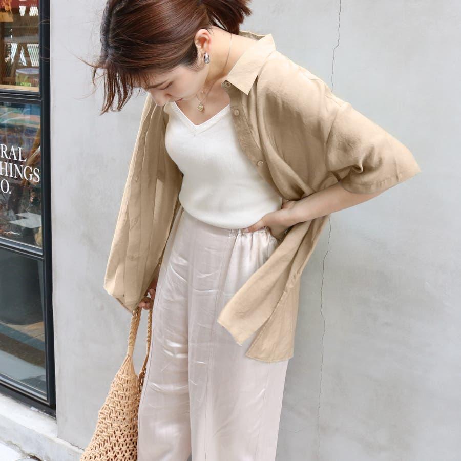 半袖シースルーオーバーサイズシャツ/トップス/シアー素材 41