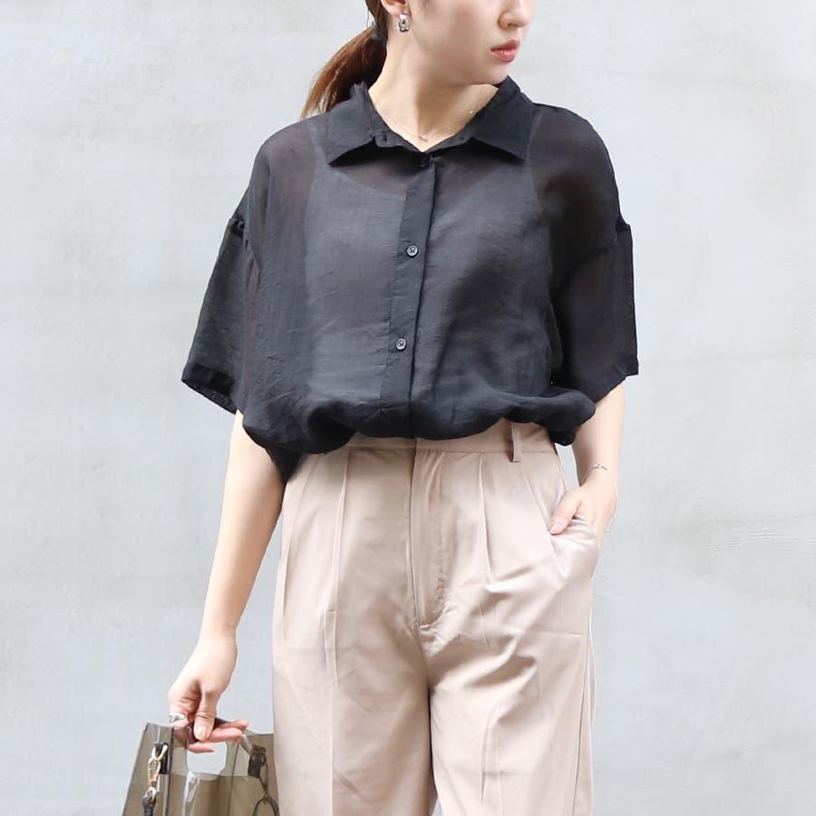 半袖シースルーオーバーサイズシャツ/トップス/シアー素材 21
