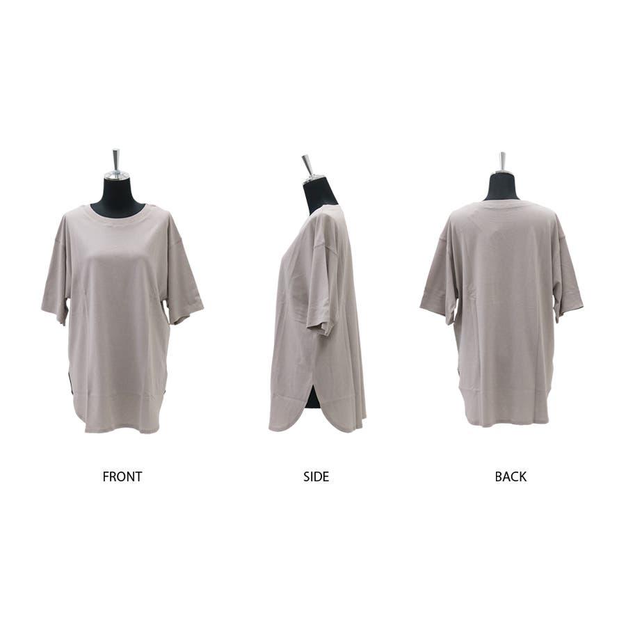 【8color】ラウンドヘムオーバーサイズ半袖Tシャツ/トップス/半そで/カラバリ/カジュアル 2