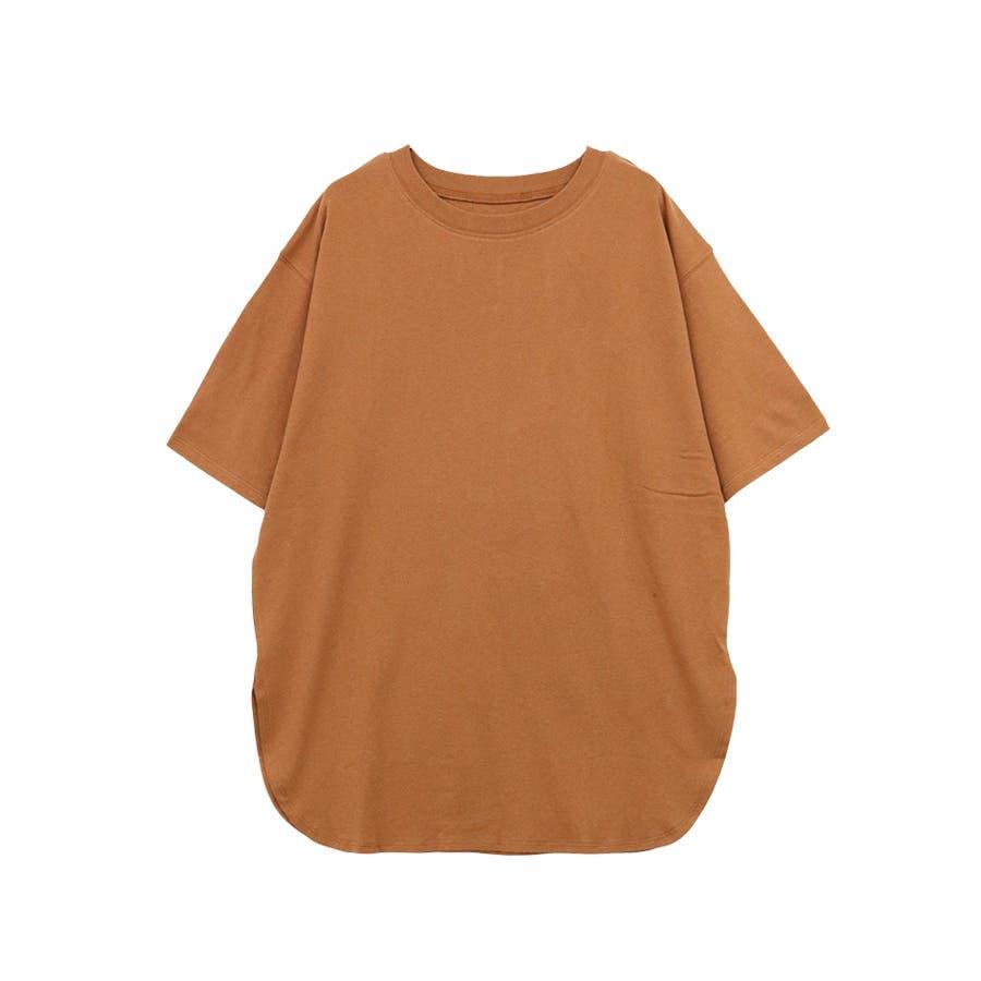 【8color】ラウンドヘムオーバーサイズ半袖Tシャツ/トップス/半そで/カラバリ/カジュアル 99