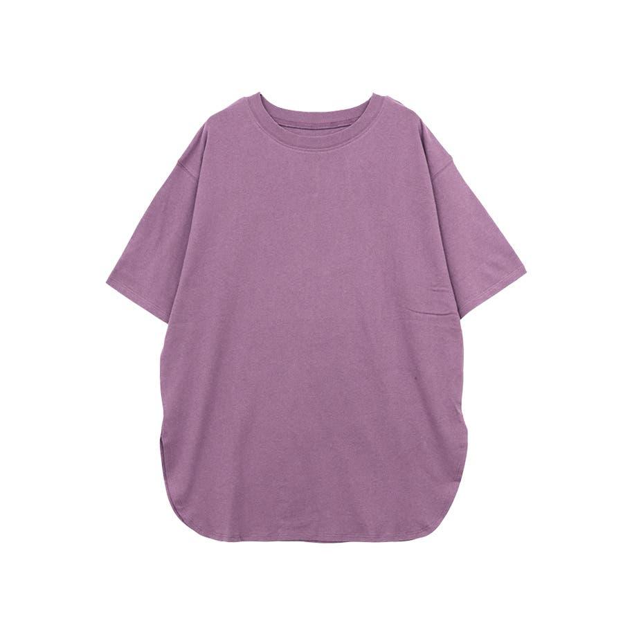 【8color】ラウンドヘムオーバーサイズ半袖Tシャツ/トップス/半そで/カラバリ/カジュアル 77