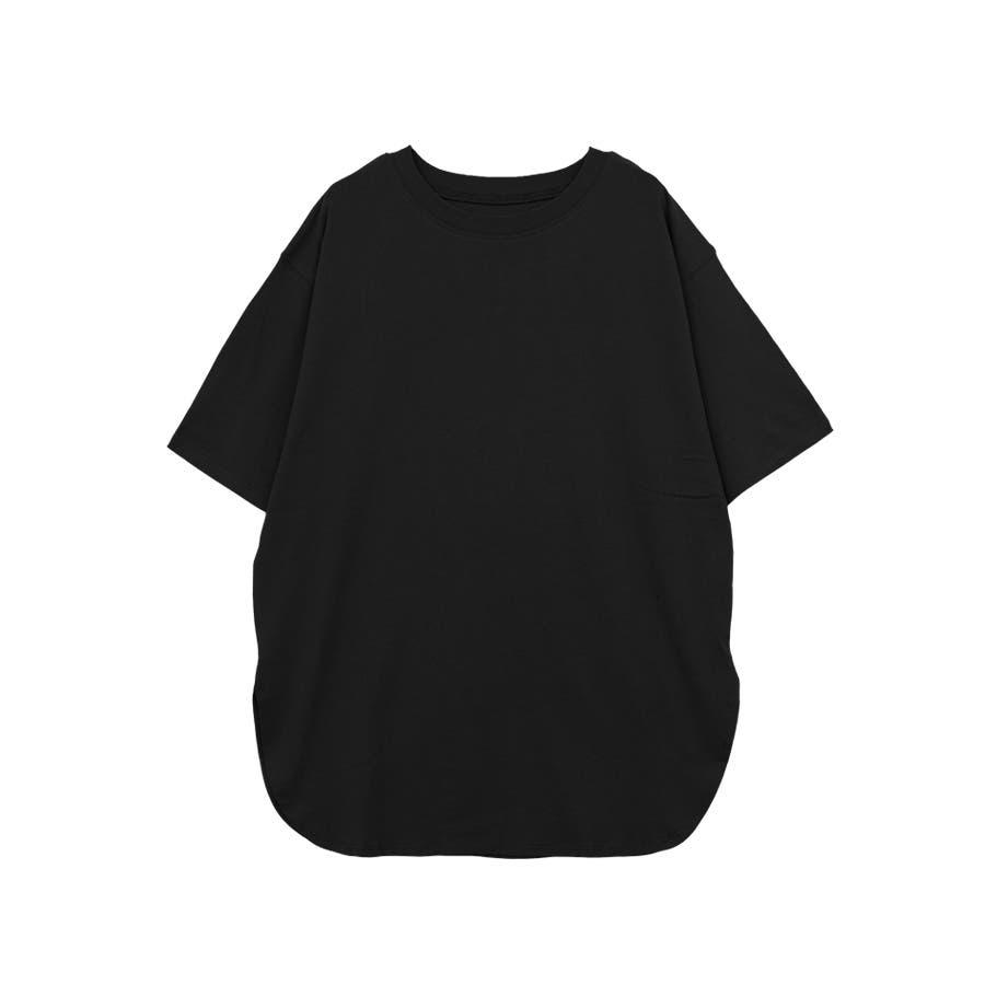 【8color】ラウンドヘムオーバーサイズ半袖Tシャツ/トップス/半そで/カラバリ/カジュアル 21