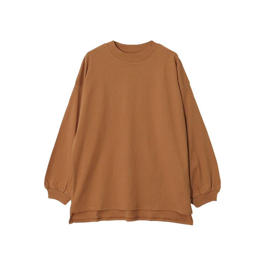 脇スリット前後差モックネック長袖Tシャツ/トップス 99
