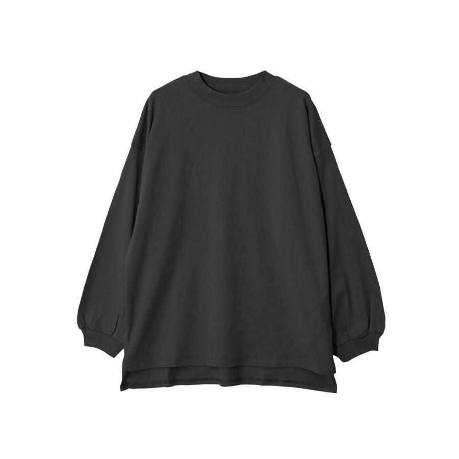 脇スリット前後差モックネック長袖Tシャツ/トップス 26