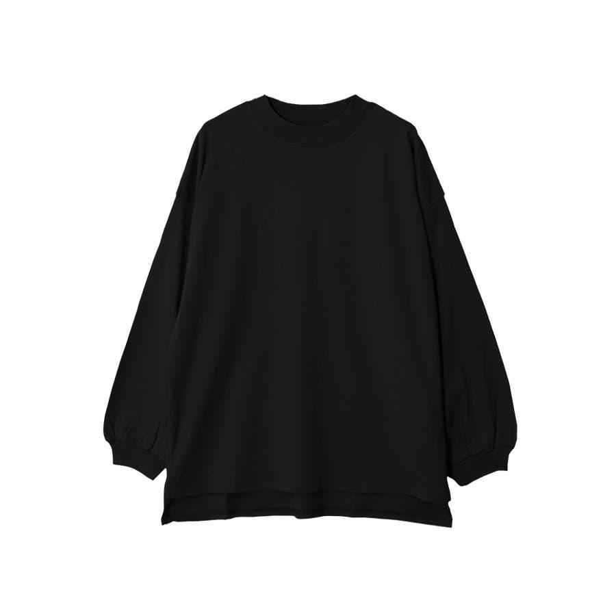 脇スリット前後差モックネック長袖Tシャツ/トップス 21