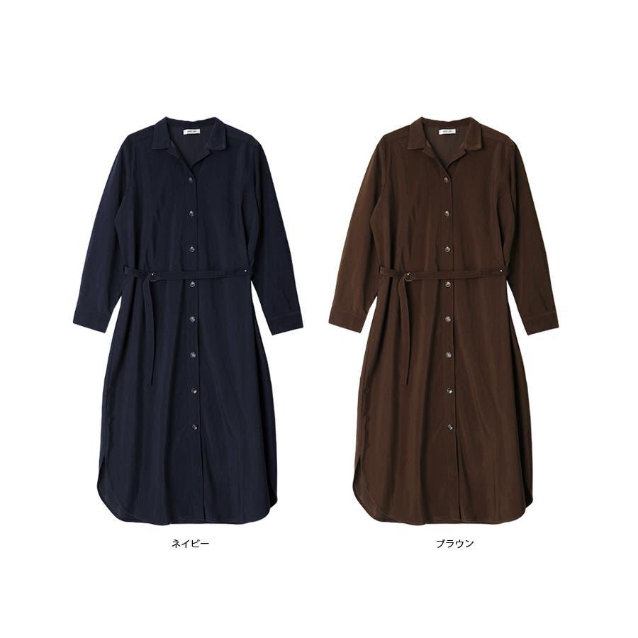 Dカンベルト付きオープンカラーシャツワンピース/秋冬 3