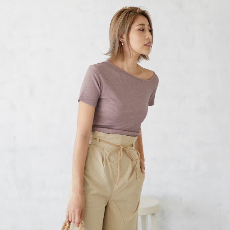 テレコアシメTシャツ/トップス 4