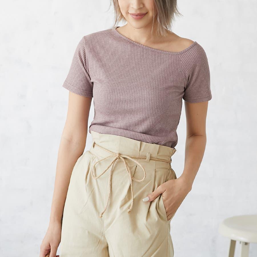 テレコアシメTシャツ/トップス 43