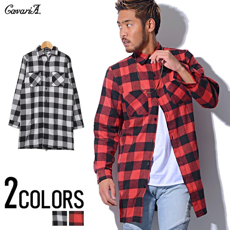 美シルエットを構築できる CavariA キャバリア ジップ付きチェックロング 長袖シャツ シャツ 全2色 秋冬 迂遠