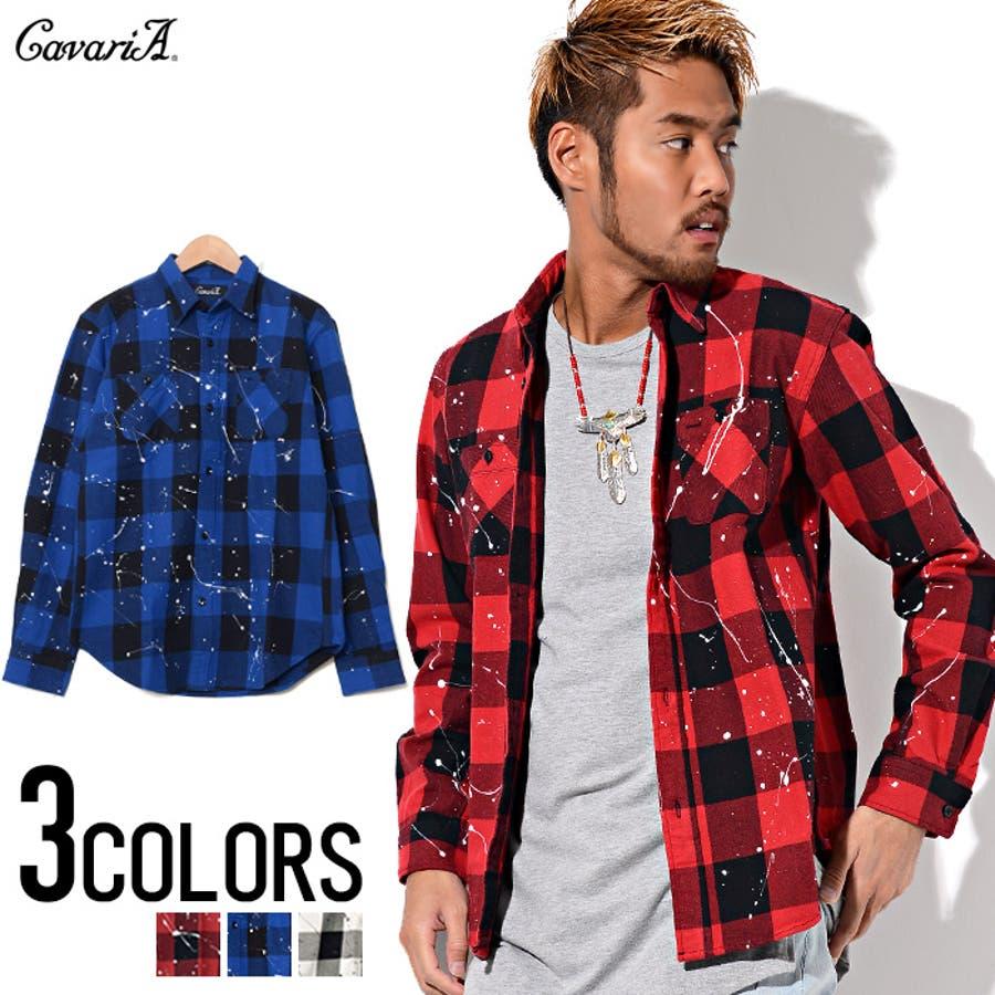 おしゃれを楽しめます! メンズファッション通販CavariA キャバリア ペンキ加工ブロック チェック シャツ  全3色 活況