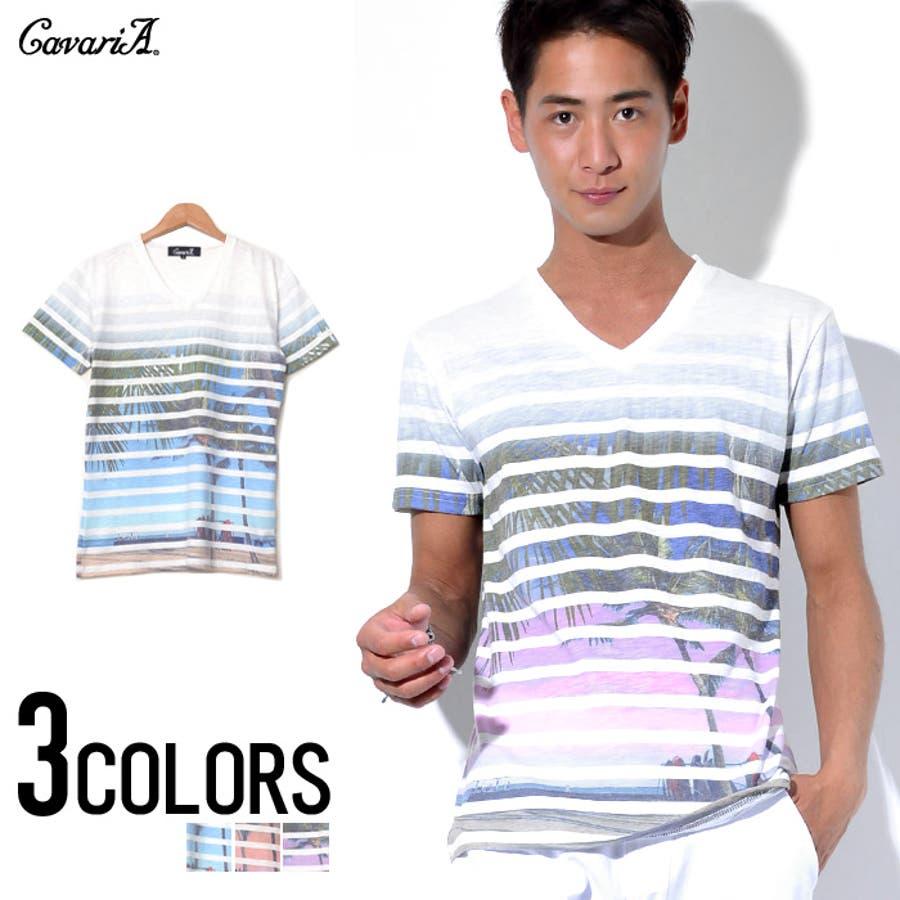 極上の着心地が体感できる CavariA キャバリア ビーチ&ボーダーVネック 半袖 Tシャツ  全3色 撃破