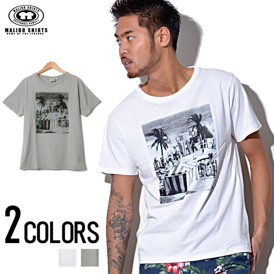 イケてる MALIBU SHIRTS マリブシャツ スタンダードロゴ入りフォトプリントクルーネック 半袖 Tシャツ 全2色 オフホワイト 杢グレー 激闘