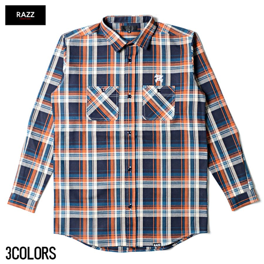 なんにでも合わせやすい RAZZIS ラズ オンブレー チェック シャツ  全3色 謝意