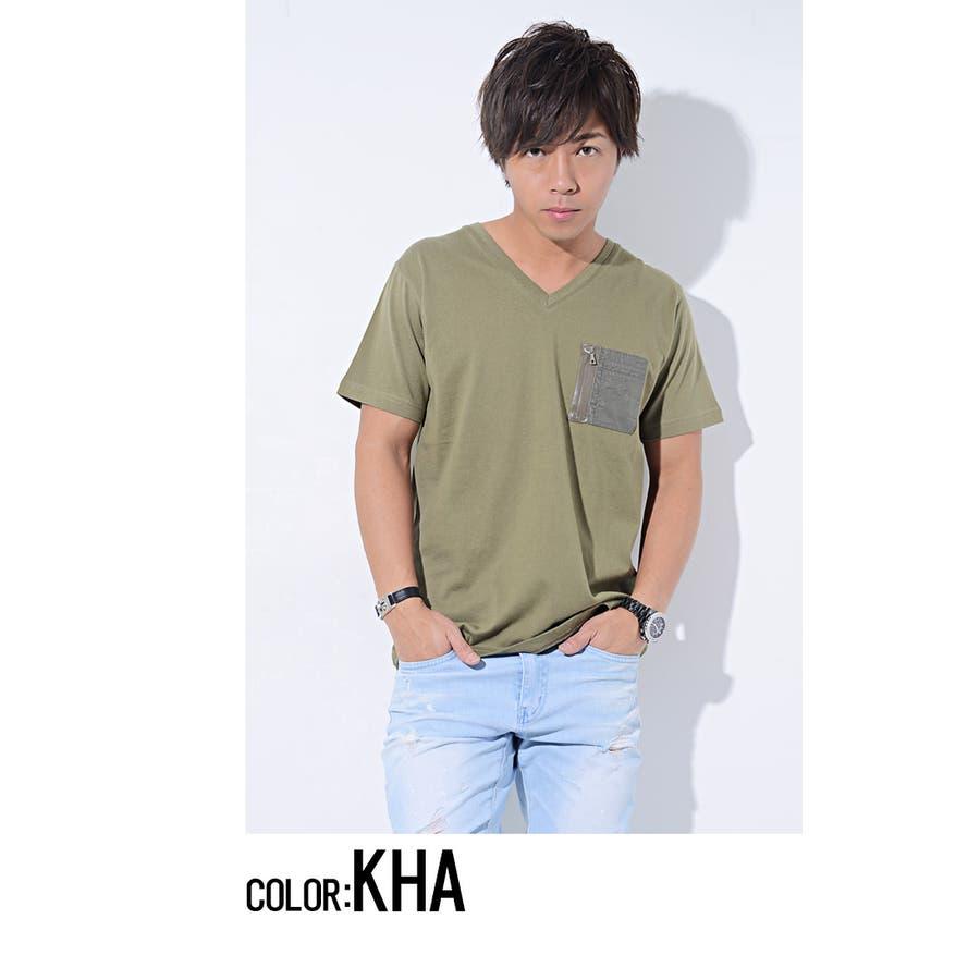 SCHEINE シャイナ ミリタリーポケット付きVネック 半袖 Tシャツ /全3色 8
