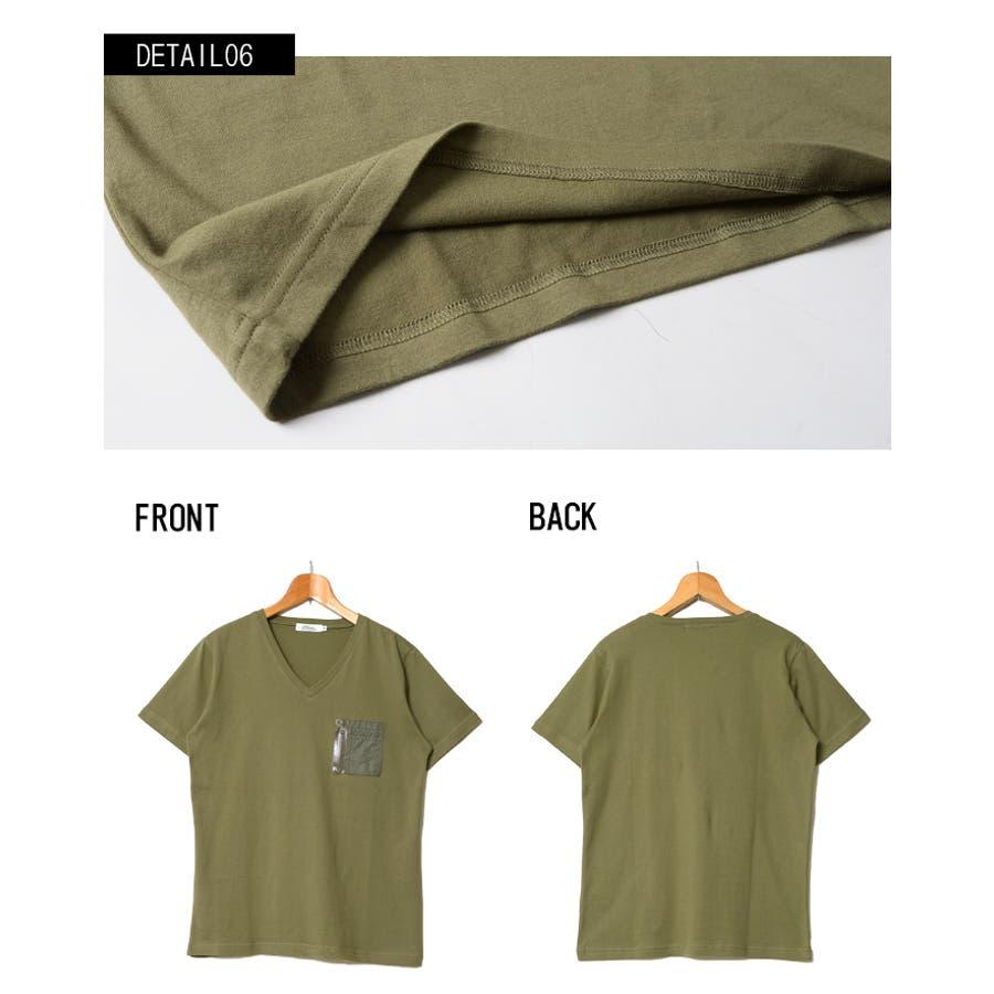 SCHEINE シャイナ ミリタリーポケット付きVネック 半袖 Tシャツ /全3色 5