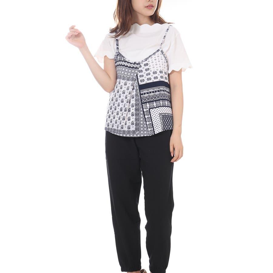 スカラップTシャツ+キャミソールセットアップ/トップス ボヘミアン 夏 トップス 半袖 2