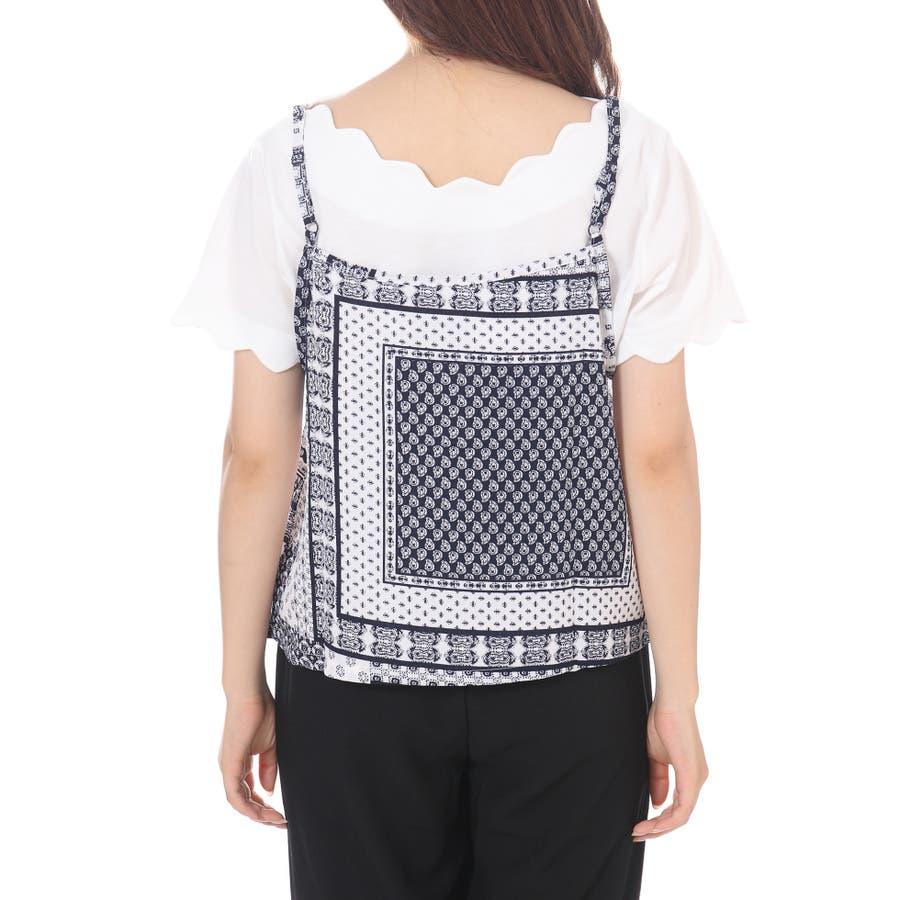スカラップTシャツ+キャミソールセットアップ/トップス ボヘミアン 夏 トップス 半袖 6