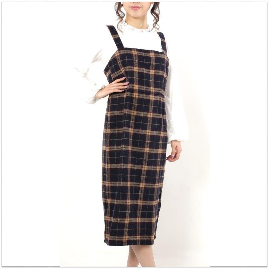 起毛チェックジャンパースカート/ワンピース 2