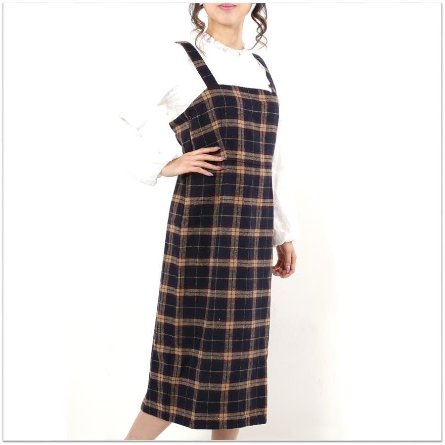 起毛チェックジャンパースカート/ワンピース 3
