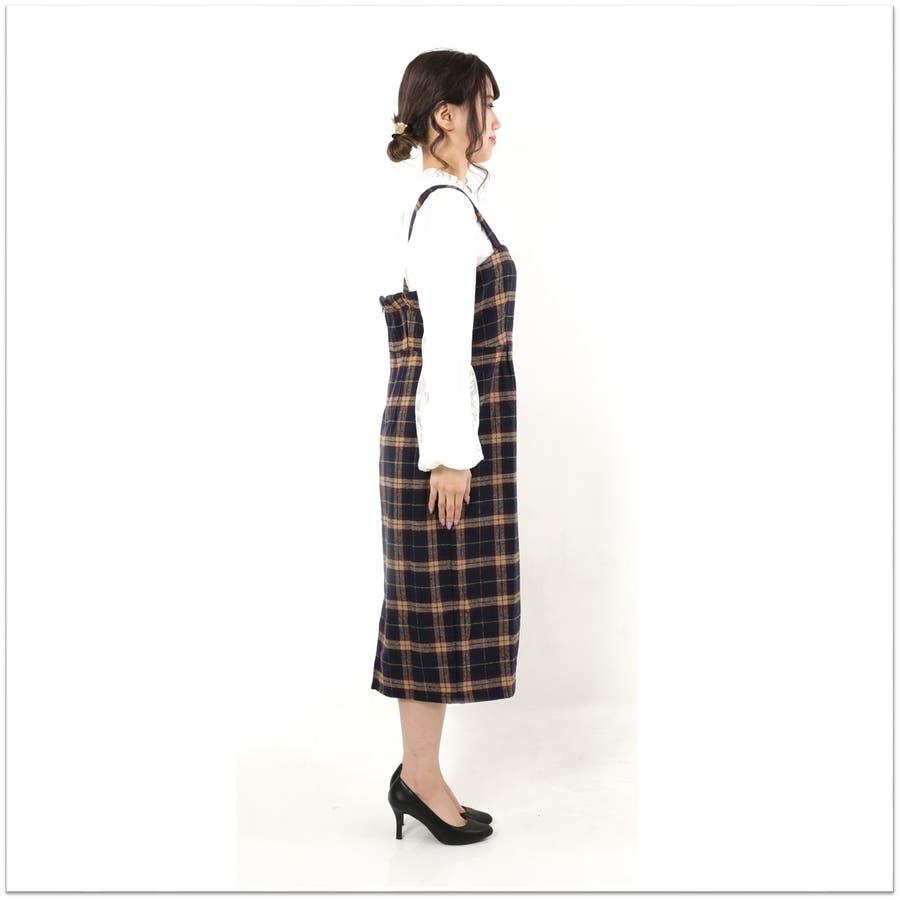 起毛チェックジャンパースカート/ワンピース 4