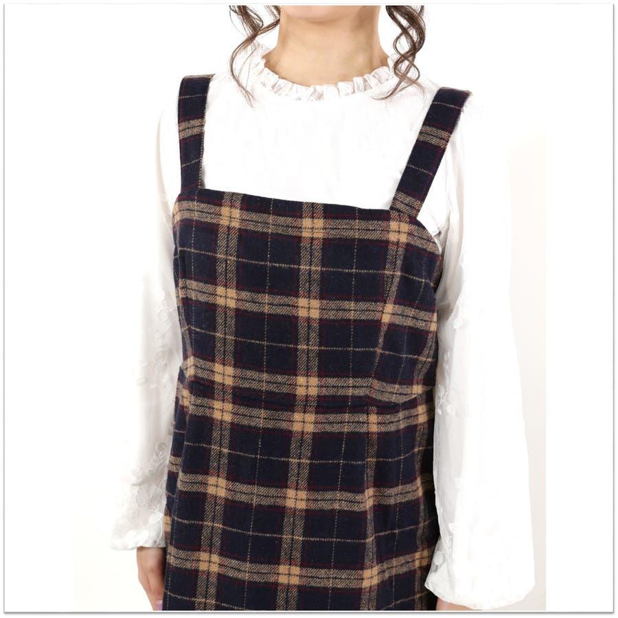 起毛チェックジャンパースカート/ワンピース 6