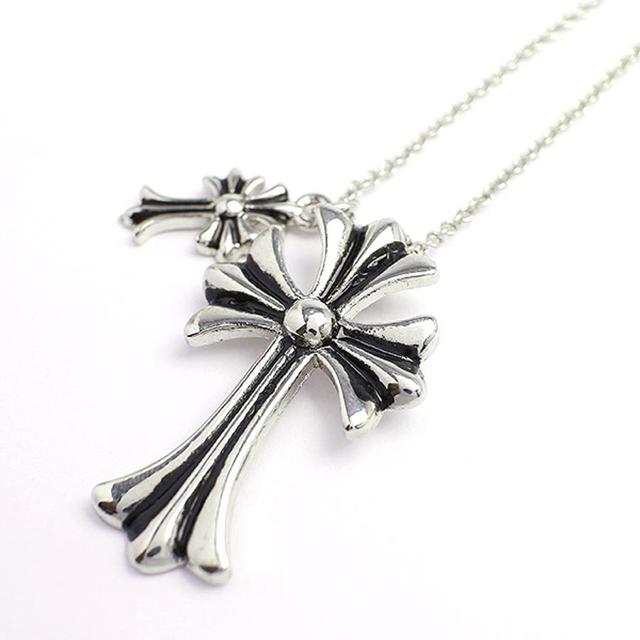 ダブルチャームがアクセント 十字架モチーフのメンズシルバーネックレス いぶし加工風 SPST017 メンズネックレス necklace 1