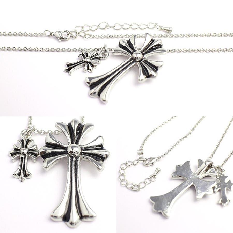 ダブルチャームがアクセント 十字架モチーフのメンズシルバーネックレス いぶし加工風 SPST017 メンズネックレス necklace 2