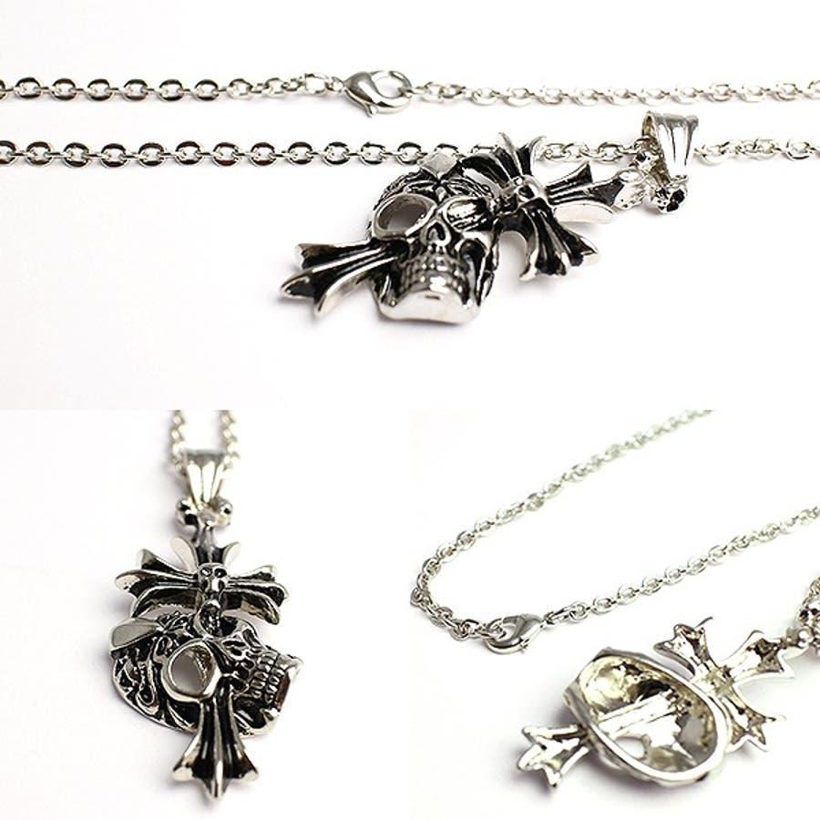 クロスがスカルを貫くシルバー風ゴシックネックレス いぶし加工風スカルクロス SPST030 メンズネックレス necklace 2