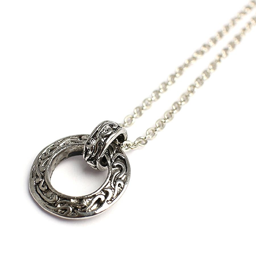 いぶし加工風アラベスクリングネックレス シルバー風サークルネックレス SPST031 メンズネックレス necklace 1