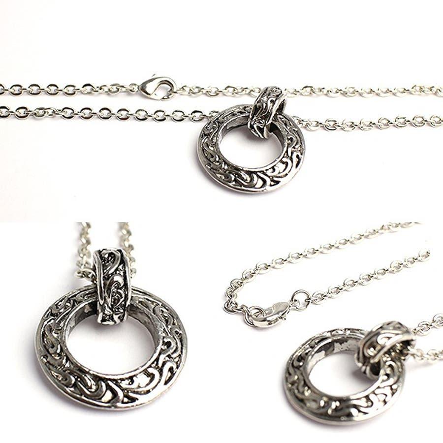 いぶし加工風アラベスクリングネックレス シルバー風サークルネックレス SPST031 メンズネックレス necklace 2