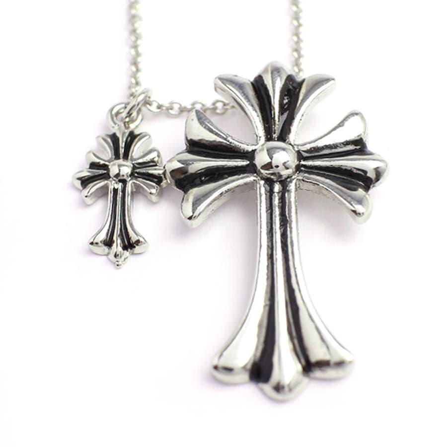 ダブルチャームがアクセント 十字架モチーフのメンズシルバーネックレス いぶし加工風 SPST017 メンズネックレス necklace 3